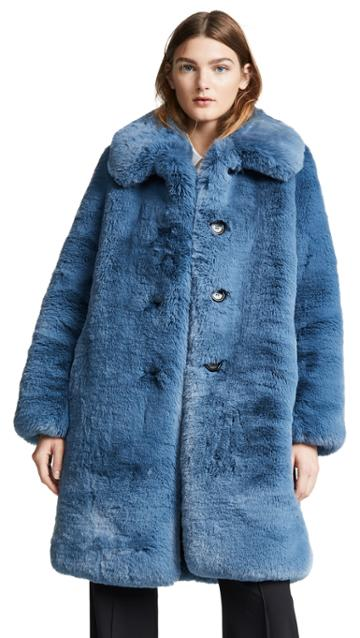 Marc Jacobs Plush Faux Fur Coat With Collar