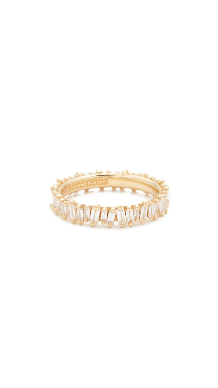 Suzanne Kalan 18k Gold Diamond Baguette Ring