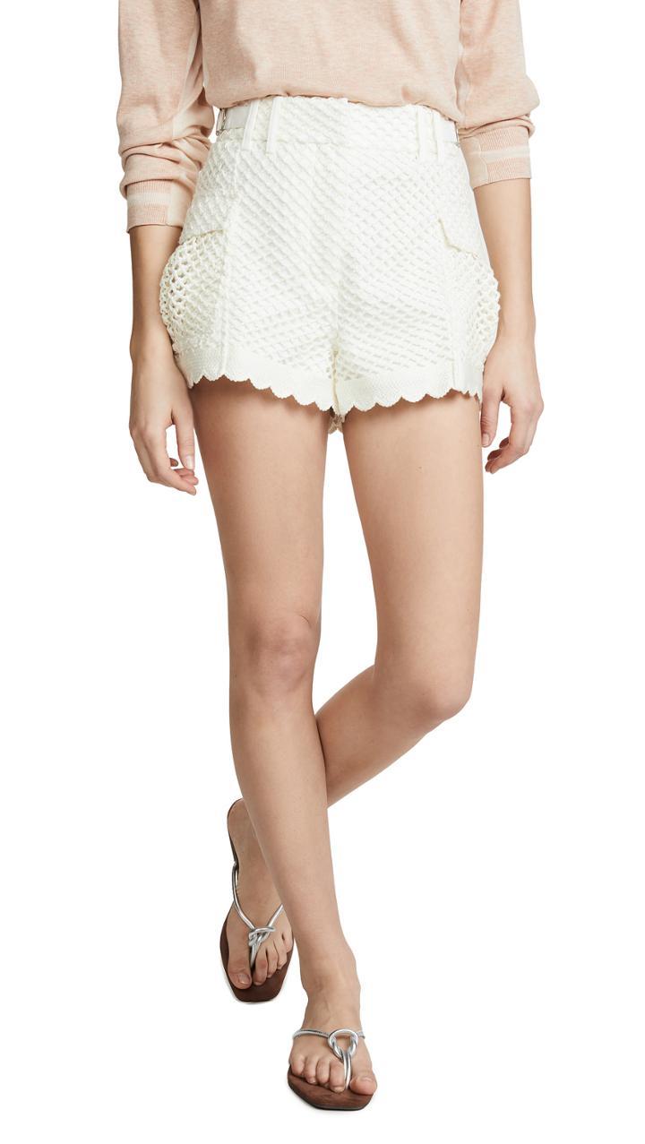 Self Portrait Crochet Shorts