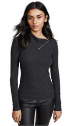 Enza Costa Rib Split Collar Long Sleeve