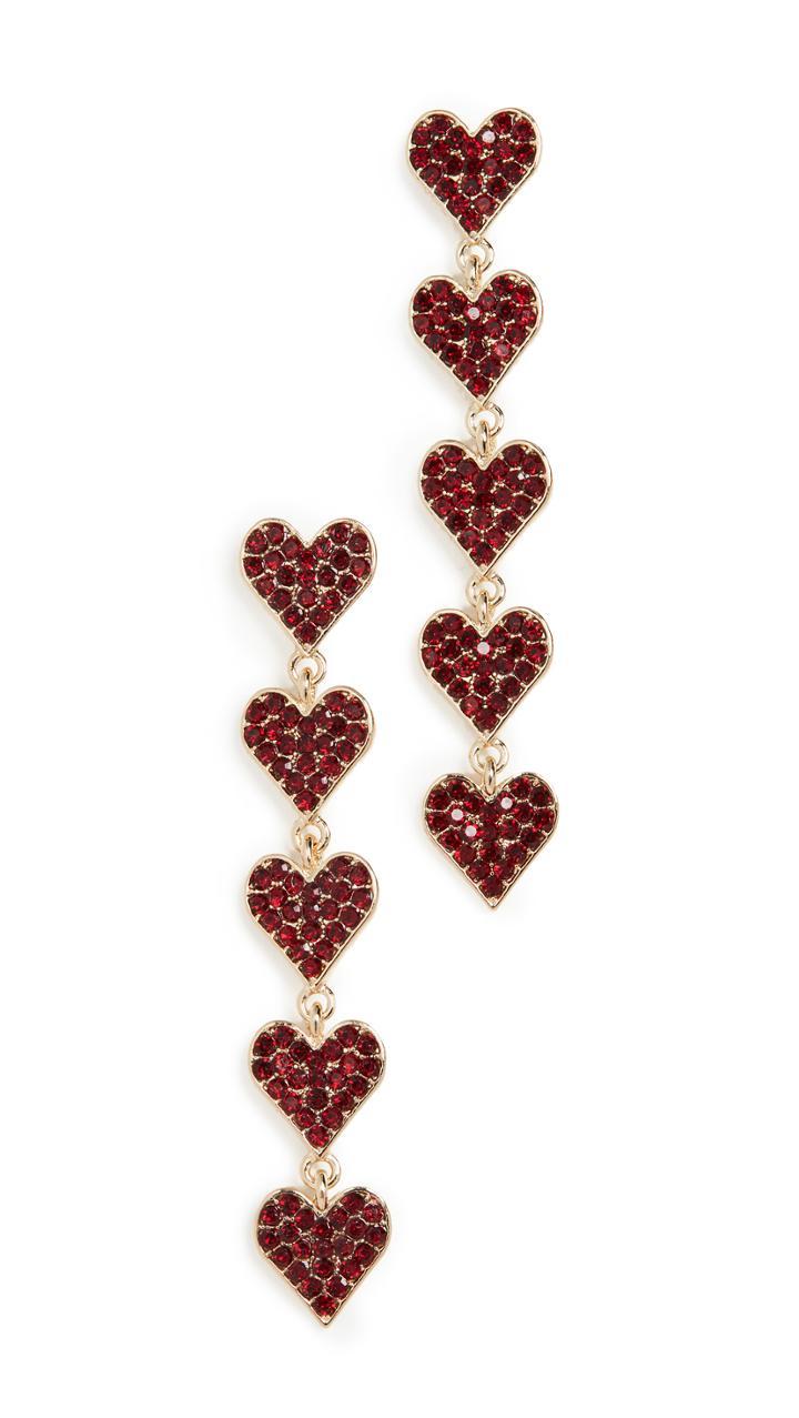 Stella Ruby Crystal Heart Earrings