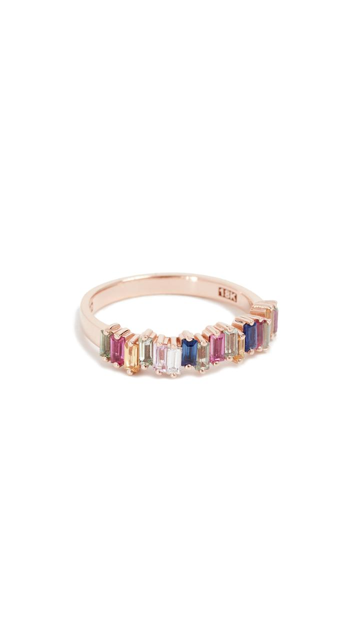 Suzanne Kalan 18k Gold Diamond Baguettes Eternity Band Ring