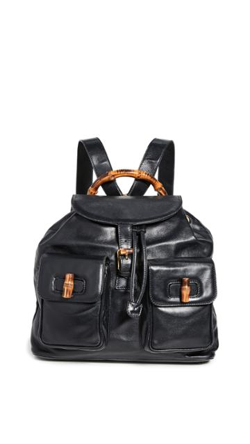 What Goes Around Comes Around Gucci Black Leather Backpack