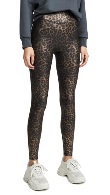Spanx Leopard Shine Faux Leather Leggings