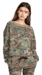 Chrldr Camo Crop Boatneck Sweatshirt
