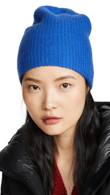 White Warren Plush Rib Cashmere Beanie
