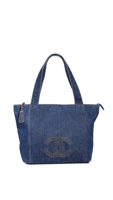 What Goes Around Comes Around Large Chanel Blue Denim Tote