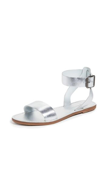 Madewell The Boardwalk Ankle Strap Sandals In Metallic