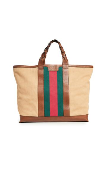 What Goes Around Comes Around Gucci Beige Canvas Tote Bag