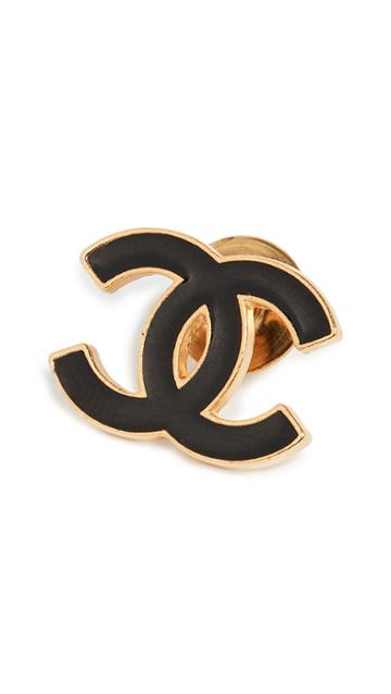 What Goes Around Comes Around Chanel Black Gold Small Pin