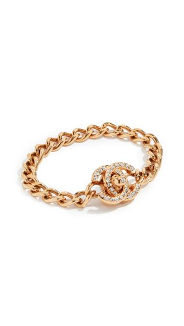 What Goes Around Comes Around Chanel Gold Turnlock Large Bracelet