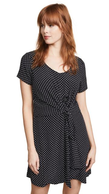 Three Dots Polka Dot Tie Front Dress