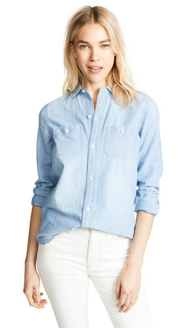 Madewell Chambray Classic Ex Bf Button Down Shirt