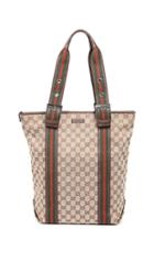 What Goes Around Comes Around Gucci Brown Canvas Web Tote Bag