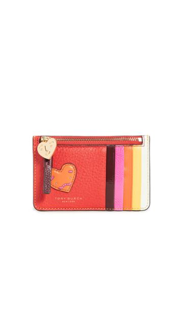 Tory Burch Perry Patchwork Hearts Top Zip Card Case