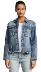 Blank Denim Distressed Denim Jacket