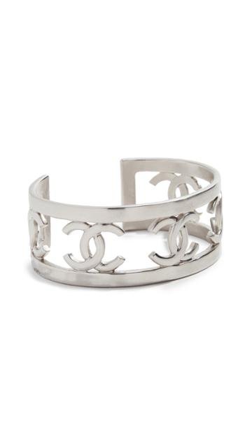 What Goes Around Comes Around Chanel Silver Cc Bangle Braacelet
