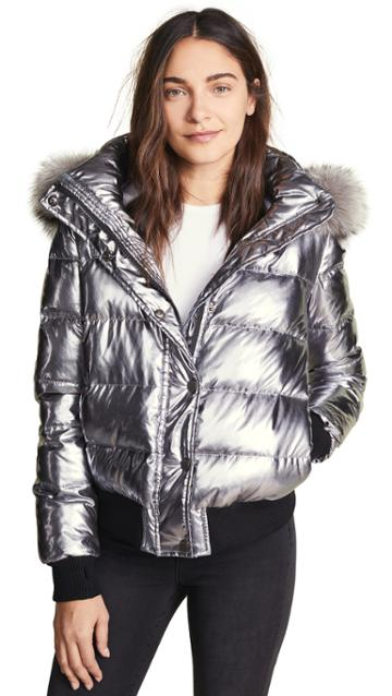 Jocelyn Quilted Down Jacket With Fur