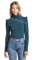 Three Dots Long Sleeve Turtleneck With Ruffle Shoulder