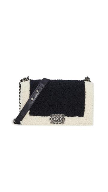 What Goes Around Comes Around Chanel Black Shearling Boy Bag Medium