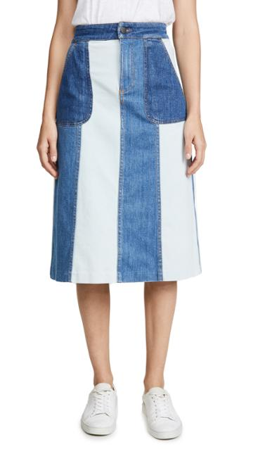 Alice Olivia Jeans Peri Midi Skirt With Pockets