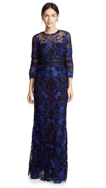Marchesa Notte Guipure Lace Gown With 3 4 Sleeves