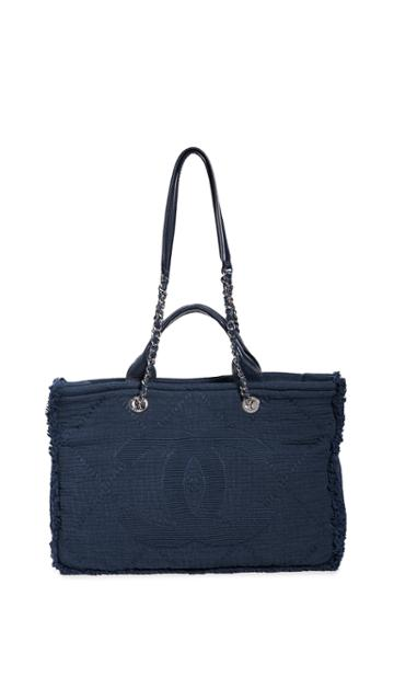 What Goes Around Comes Around Chanel Navy Double Face Tote Medium