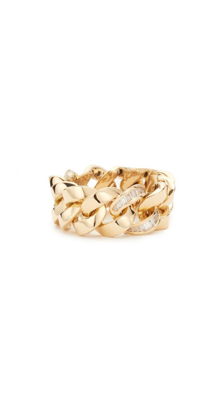 Shay 18k Gold Single Baguette Diamond Jumbo Link Ring