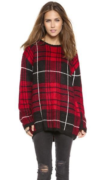 Unif Jumbo Plaid Sweater - Red Plaid