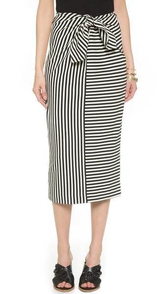 Tibi Tie Front Pencil Skirt - Black/ivory Multi