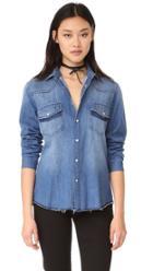 Frame Frayed Denim Shirt
