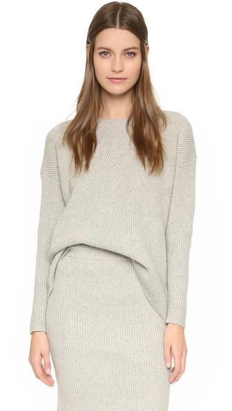 Madewell Bryn Ribbed Sweater - Heather Pebble