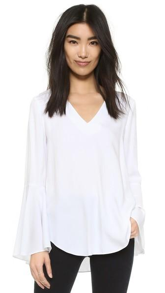 Wayf Bell Sleeve Blouse - White