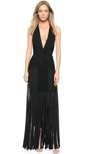 Herve Leger Sleeveless Fringe Gown - Black