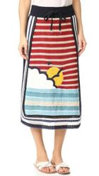 Red Valentino Waves Sun Knit Skirt