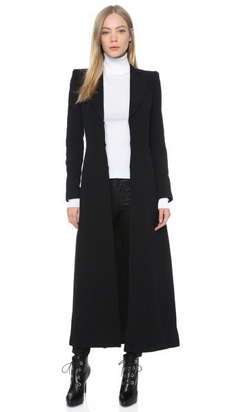 Alice + Olivia Talia Pleated Back Long Coat - Black