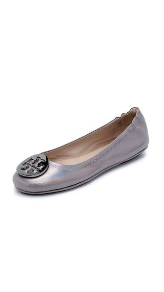 Tory Burch Minnie Travel Ballet Flats - Gunmetal