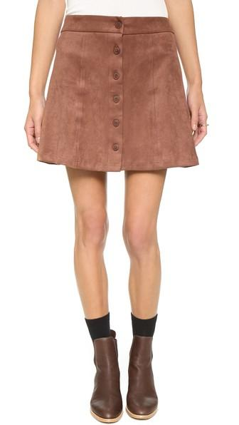 Wayf Button Front Skirt - Brown Suede