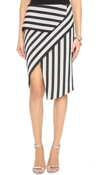 Mason By Michelle Mason Asymmetrical Stripe Peplum Skirt - Black Stripe