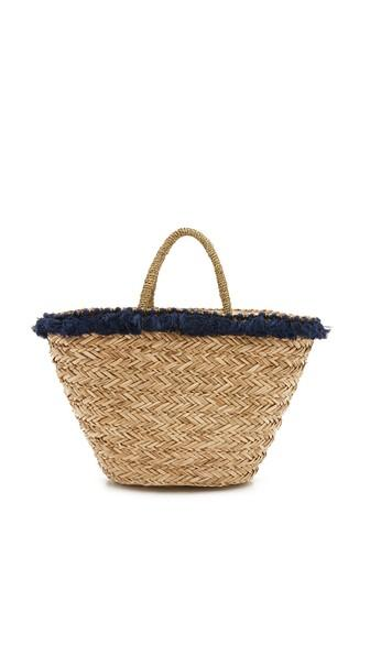 Hat Attack Seagrass Tassel Tote - Natural Navy