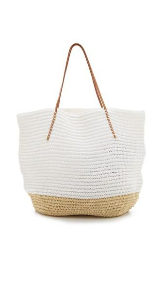 Hat Attack Twisted Colorblock Tote - White