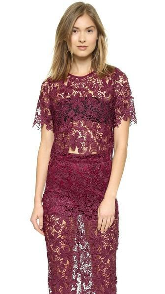 Re:named Lace Crop Top - Oxblood