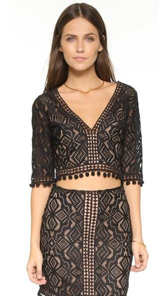 For Love & Lemons Florence Crop Top - Black