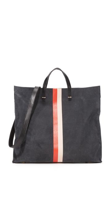 Clare V. Simple Tote - Grey/blue/red