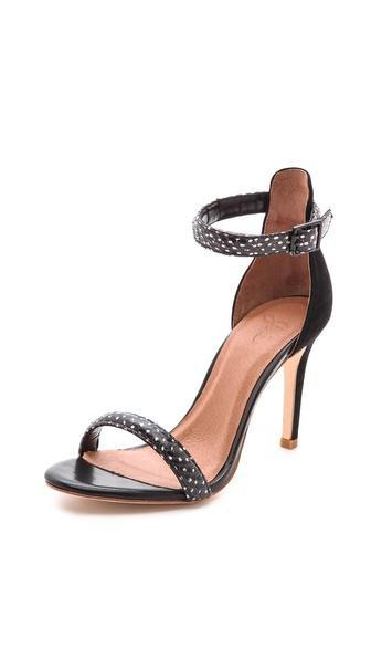 Joie Roxie Snakeskin Sandals - Black Dot
