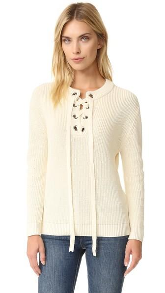 J.o.a. Lace Up Sweater - Ivory