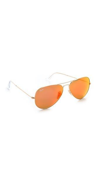 Ray-ban Mirrored Matte Classic Aviator Sunglasses - Matte Gold/red Mirror
