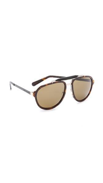 Marc Jacobs Sunglasses Aviator Sunglasses - Havana Gold Black/brown