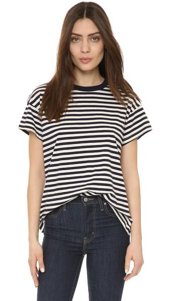 The Great. The Boxy Crew Tee - Navy & Cream Striped