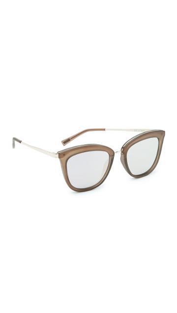 Le Specs Caliente Sunglasses - Matte Mocha Gold/peach Revo